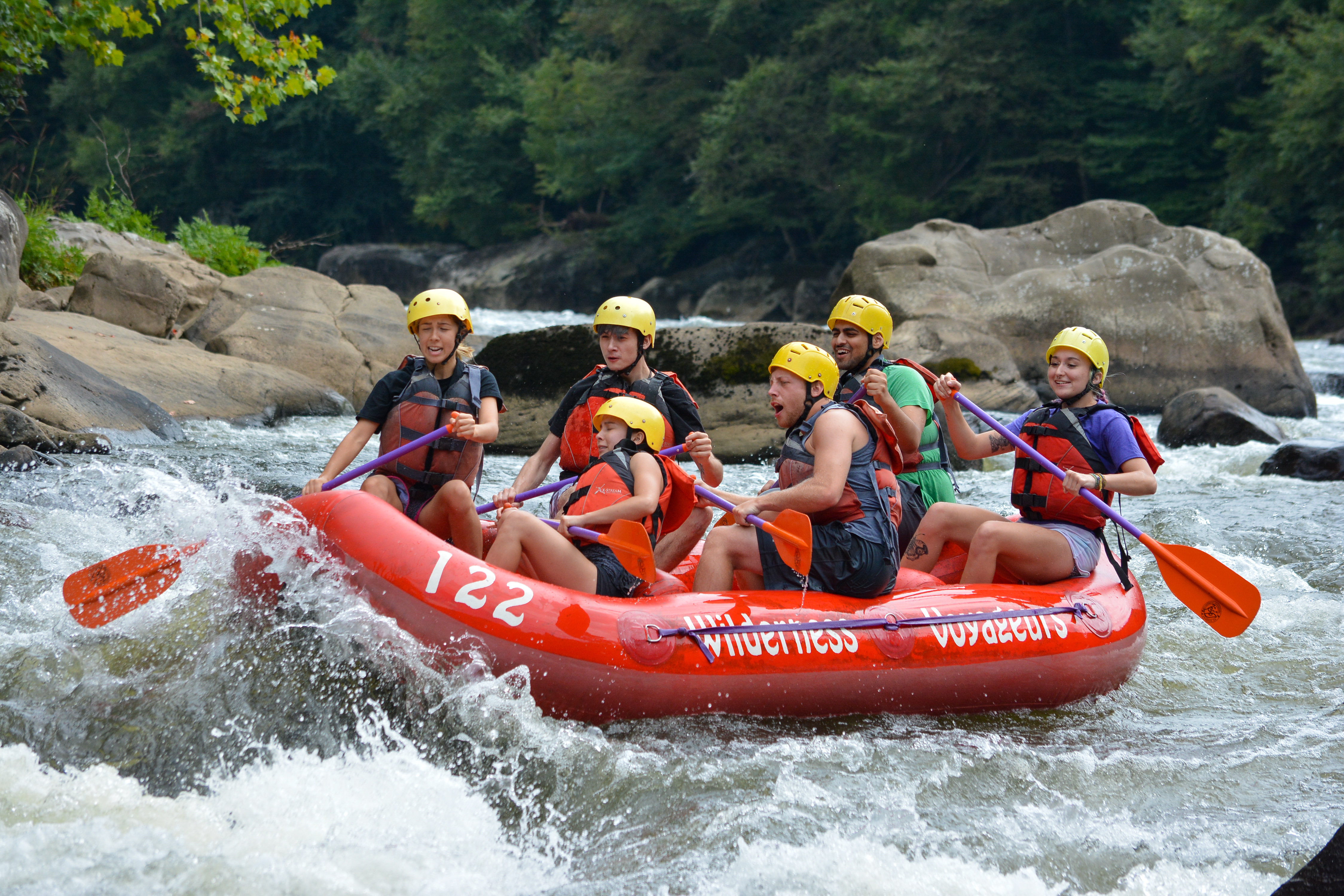 outdoor initiatives club on a whitewater rafting trip