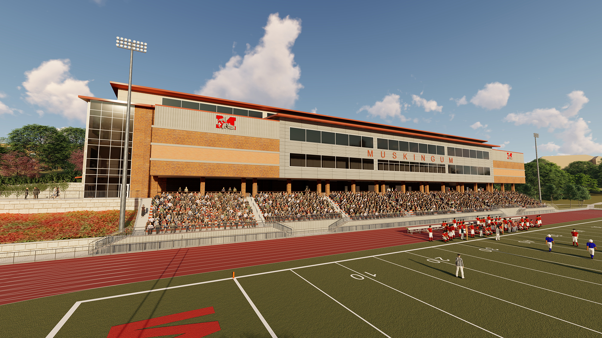 front shot of the new HWC showing the bleachers and the existing football field