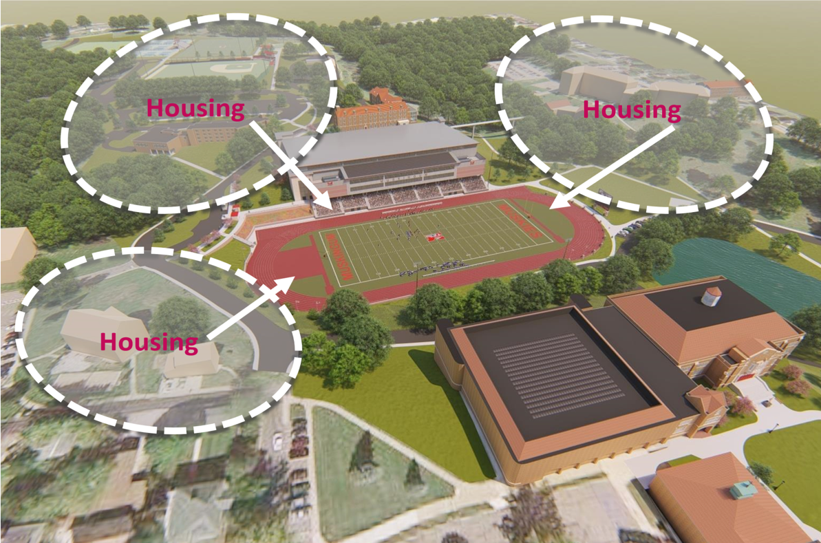 a rendering of the new HWC showing its location and the close proximity of student housing