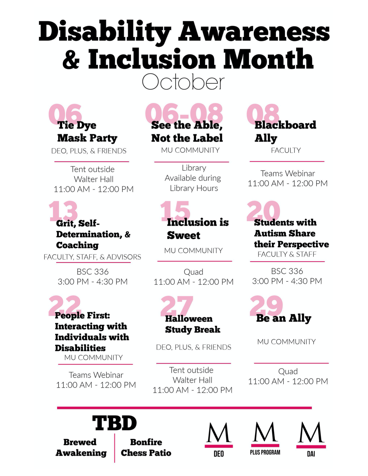 disability inclusion month event schedule