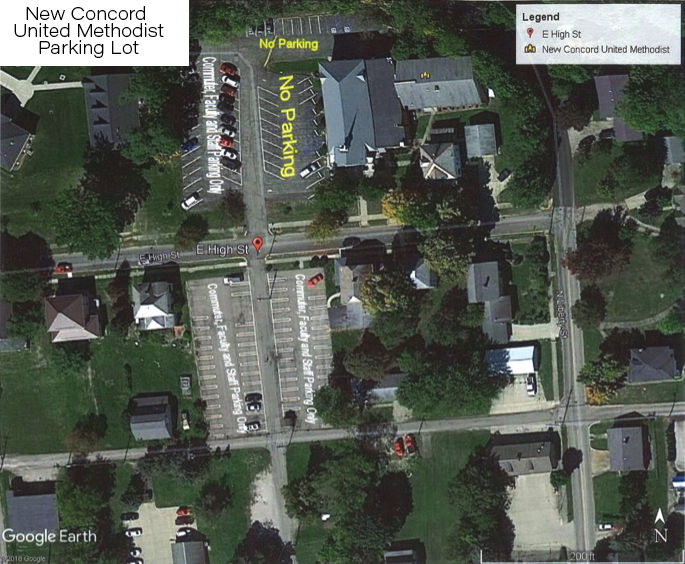 Map image of parking lots to use around the New Concord United Mehtodist Church