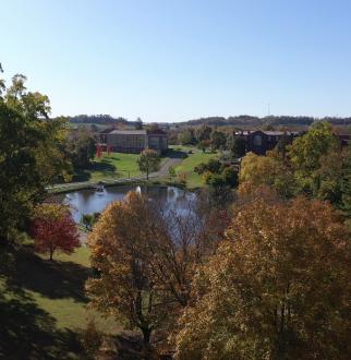 fall shot of campus trees and lake