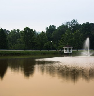 university lake and fountain