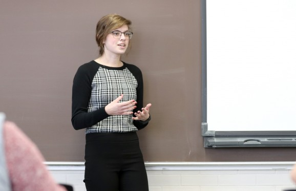 Alexandria Fraley speaking in a classroom