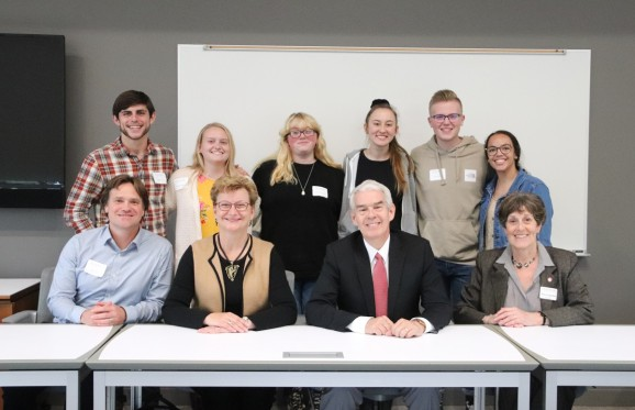 Chancellor Randy Gardner and President Susan Hasseler with John and Annie Glenn Public Service Fellows