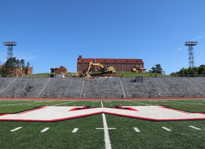 picture from center field showing the demolition of the old pressbox in the background